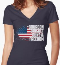 Bourbon, Brisket, Guns, and Freedom Women's Fitted V-Neck T-Shirt