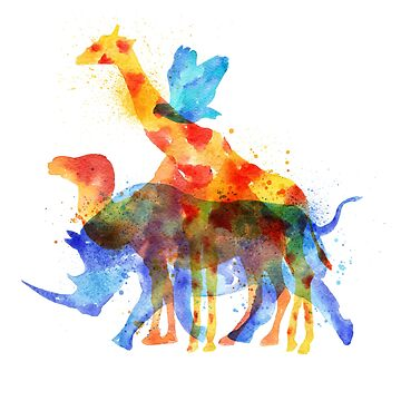 Colorful African animals overprint by artonwear
