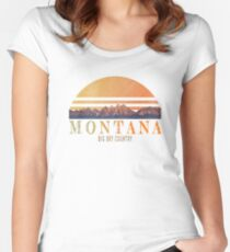 Vintage Montana mountians design Women's Fitted Scoop T-Shirt