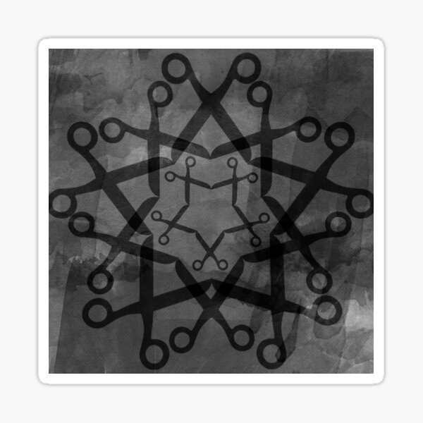 Shears pattern - black and grey Sticker
