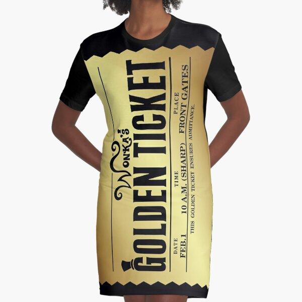 Wonka's Golden Ticket Graphic T-Shirt Dress