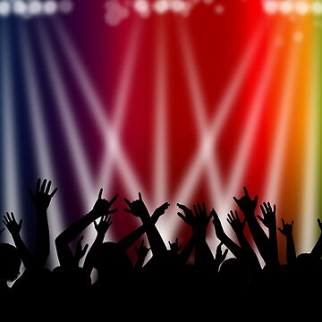 Dancing Crowd With Multi Colour and White Spotlights by MarkUK97