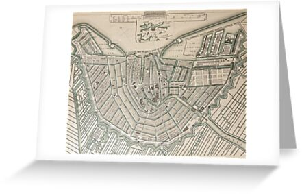 19th Century Topographical Vintage Antique Map of Amsterdam Steampunk by Photo Print Vintage