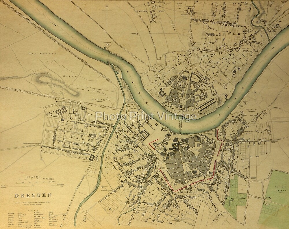 Dresden On Map Of Germany.19th Century Topographical Vintage Antique Map Dresden Germany By