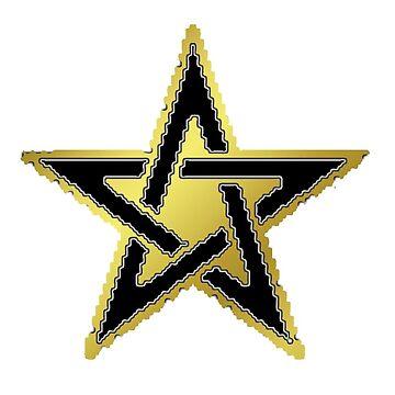 Celtic - Pentagram, Golden. (pixelated!) by timothybeighton