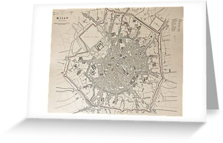 19th Century Topographical Vintage Antique Map Milan Italy Steampunk by Photo Print Vintage