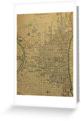 19th Century Topographical Vintage Antique Map Philadelphia,  America, by Photo Print Vintage