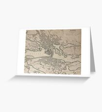 19th Century Topographical Vintage Antique Map Stockholm Sweden Greeting Card
