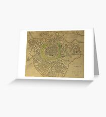 19th Century Topographical Vintage Antique Map Vienna Austria Greeting Card