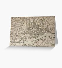 19th Century Topographical Vintage Antique Map Warsaw Poland Steampunk Greeting Card