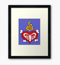 Heart Bones with Flames and Ribcage Framed Print