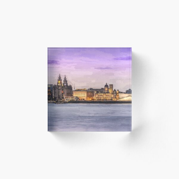 Panoramic Liverpool cityscape oil painting effect Acrylic Block
