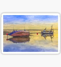 Boats in the morning Sticker