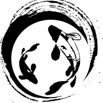 KOI FISH IN BLACK BRUSH PAINT STYLE by asepsarifudin09