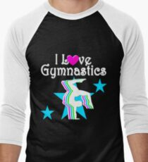BLUE STAR I LOVE GYMNASTICS Men's Baseball ¾ T-Shirt