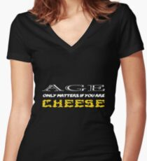 Old cheese Women's Fitted V-Neck T-Shirt