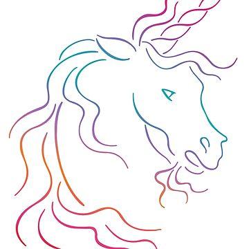 Rainbow Tribal Unicorn Art Design  by ironydesigns