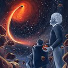 Ghosts in the Sky: Einstein and Hawking by DeLuceArt