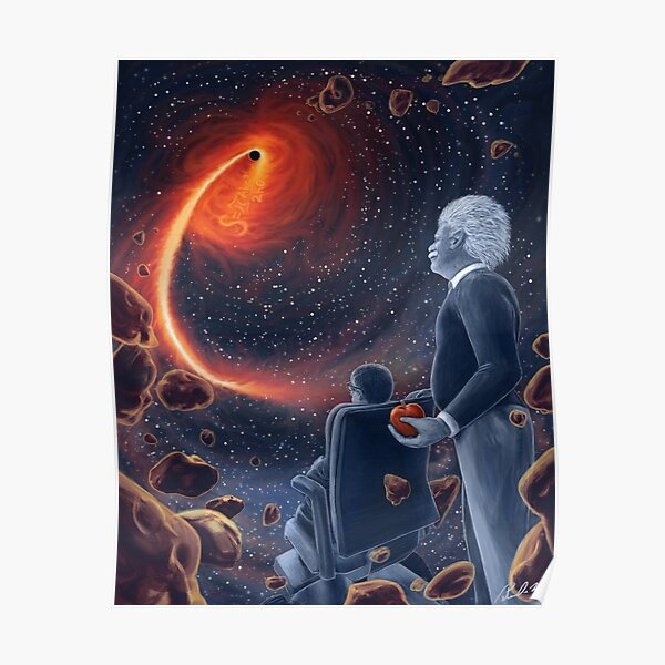 Ghosts in the Sky: Einstein and Hawking Poster