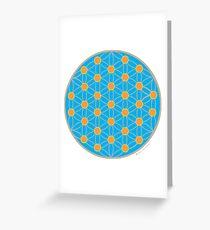 Fleur de vie bleu été Carte de vœux