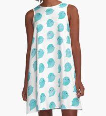 Kawaii Watercolour Ghosts (Ocean) A-Line Dress