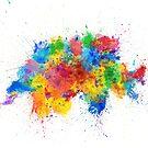 Switzerland Paint Splashes Map by Michael Tompsett