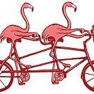 « Flamants roses en vélo tandem » par Amélie  Legault