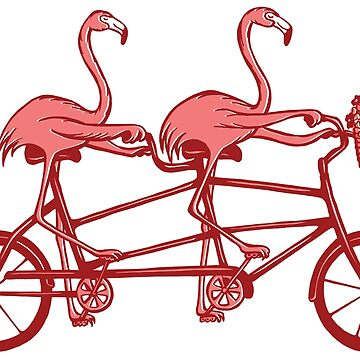 Pink flamingos on tandem bike by amelielegault