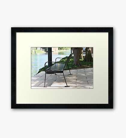 Canal Bench Framed Print