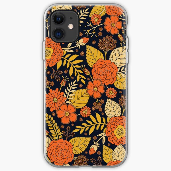 Retro Orange, Yellow, Brown, & Navy Floral Pattern iPhone Soft Case