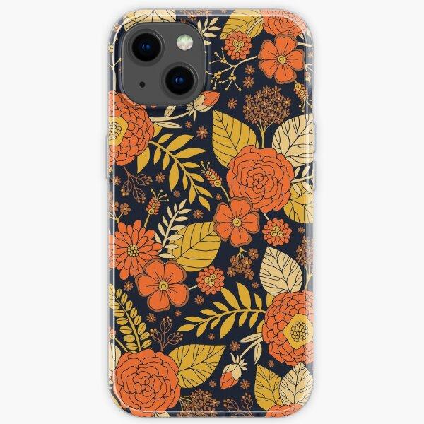 Retro Orange, Yellow, Brown, & Navy Floral Pattern iPhone Soft Case