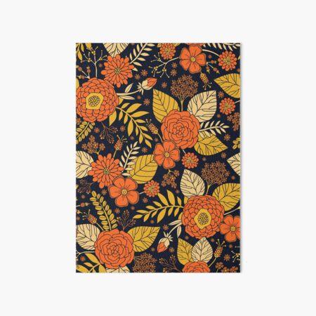 Retro Orange, Yellow, Brown, & Navy Floral Pattern Art Board Print