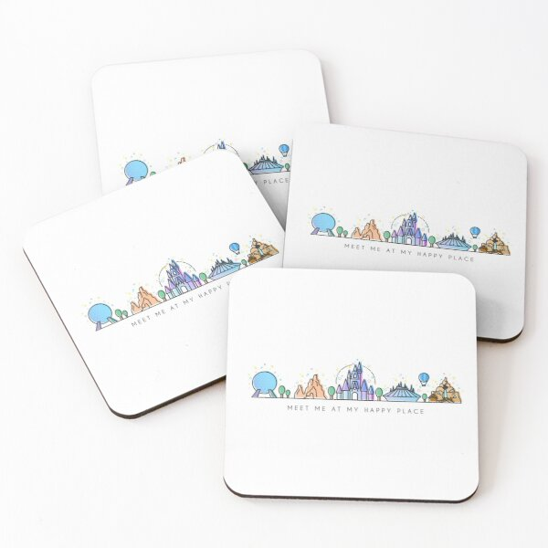 Meet me at my Happy Place Vector Orlando Theme Park Illustration Design Coasters (Set of 4)