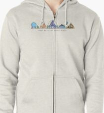 Meet me at my Happy Place Vector Orlando Theme Park Illustration Design Zipped Hoodie