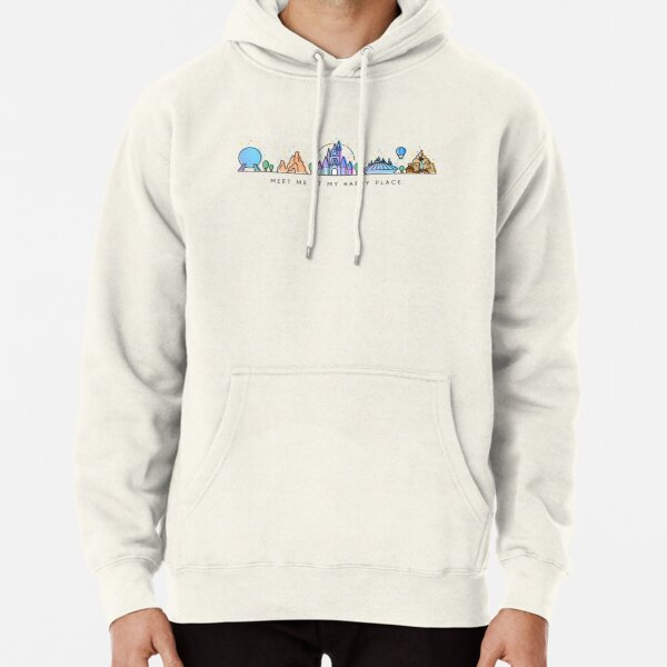 Meet me at my Happy Place Vector Orlando Theme Park Illustration Design Pullover Hoodie