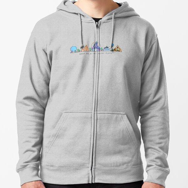 Rencontrez-moi à mon Happy Place Vector Orlando Theme Park Illustration Design Veste zippée à capuche