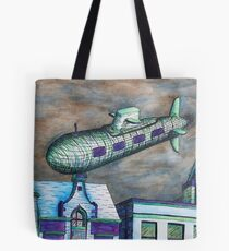Flying Submarine Tote Bag
