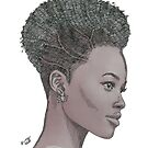 Lupita ink drawing Afro princess by tqueen