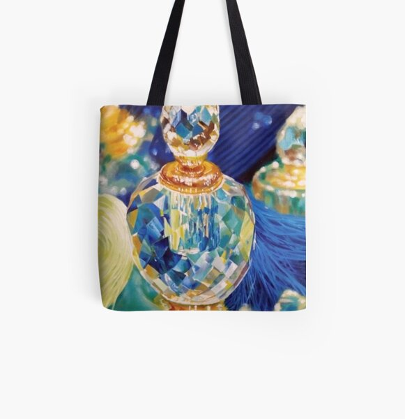 Perfume bottles and Silk shawls All Over Print Tote Bag