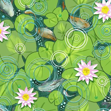 Koi Fish Pond with Green Lily Pads and Pink Waterlilies  by vinpauld