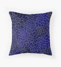 Navy Blue Dahlia Flower Petals Throw Pillow