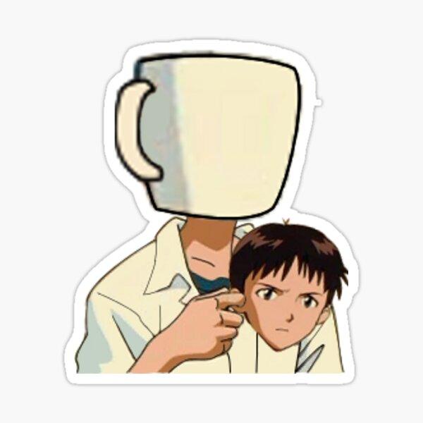 Shinji Ikari Cup holding meme Neon Genesis Evangelion sticker Sticker