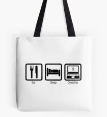 Eat Sleep Dropship Design Black Tote Bag