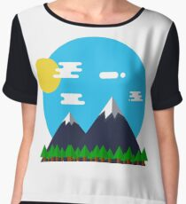 Flat Design Outdoor Mountain Forest Park Sun - gift idea Chiffon Top