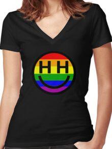 Happy Hippie Foundation Logo [Rainbow] Women's Fitted V-Neck T-Shirt
