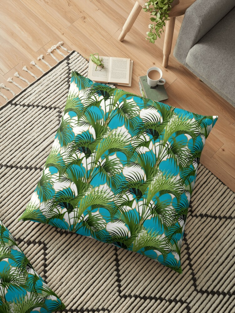 Palms on Quatrefoil Pattern - Turquoise Gold by Nicole Demereckis