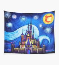 Starry Night Over The Castle Wall Tapestry