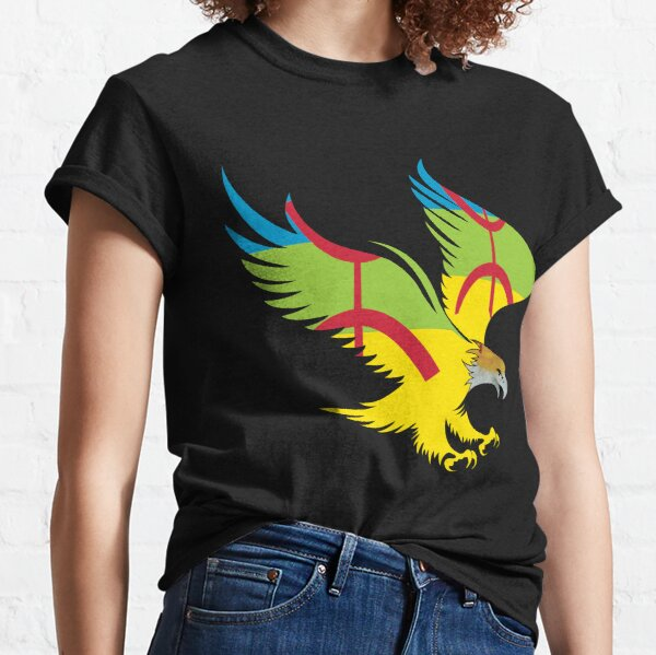 Drapeau Amazigh T-shirt patriotique d'aigle flamboyant T-shirt classique