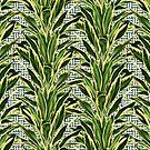 Palms on Stitch Pattern - Blue White Gold by Nicole Demereckis