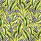 Palms on Stripped Herringbone Pattern - Black White Gold by Nicole Demereckis